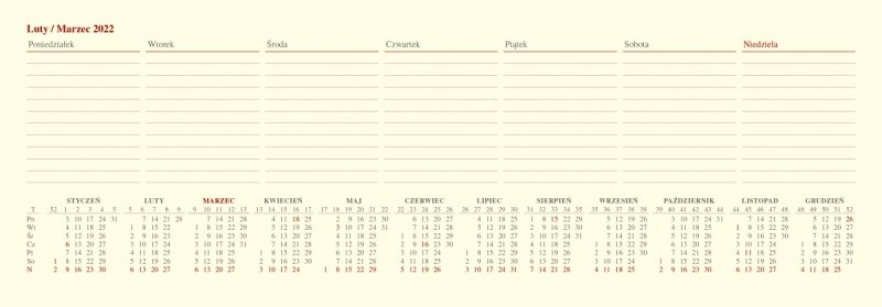 Kalendarz biurkowy tygodniowy z planem zajęć i skróconym kalendarium roku 2022