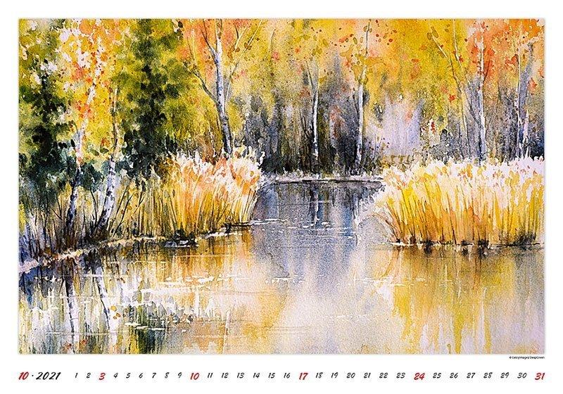 Kalendarz ścienny wieloplanszowy Watercolour Scenery 2021 - październik 2021