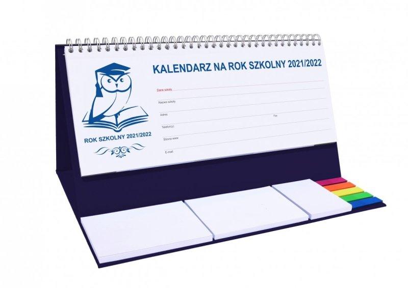 Kalendarz biurkowy tygodniowy z notesami i znacznikami  na rok szkolny 2021/2022