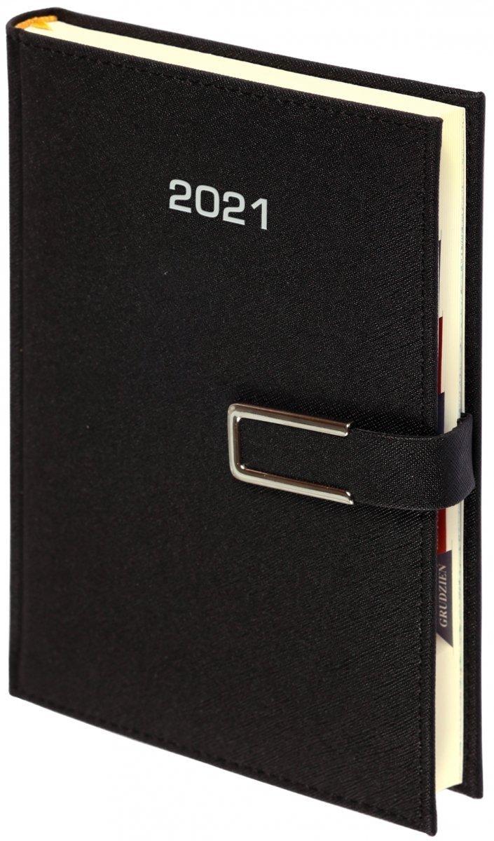 Kalendarz książkowy 2021 B5 tygodniowy oprawa ROSSA CHROMO czarna - oprawa zamykana na magnes