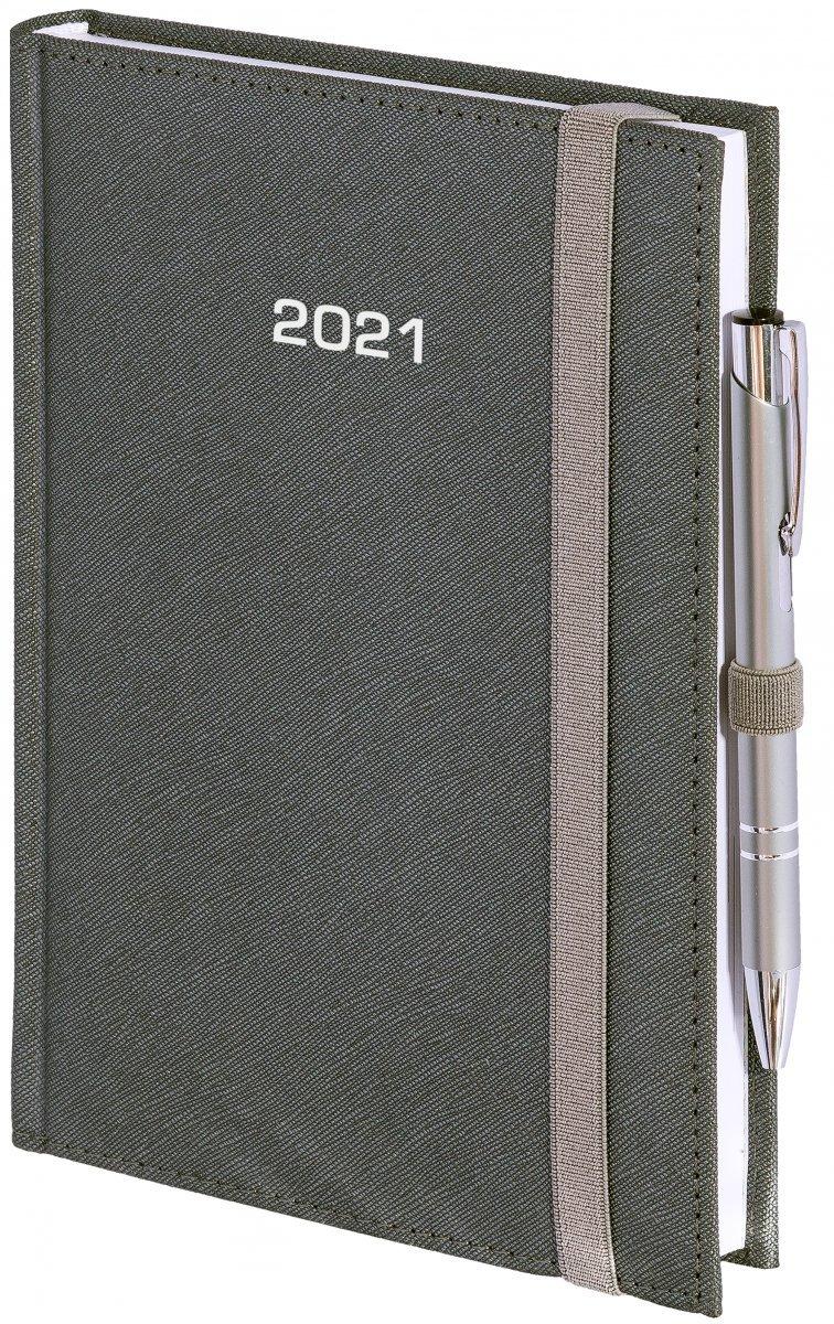 Kalendarz książkowy 2020 A4 tygodniowy oprawa ROSSA zamykana na gumkę srebrna
