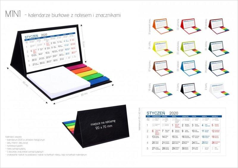 Kalendarz biurkowy z notesem i znacznikami MINI miesięczny 2020