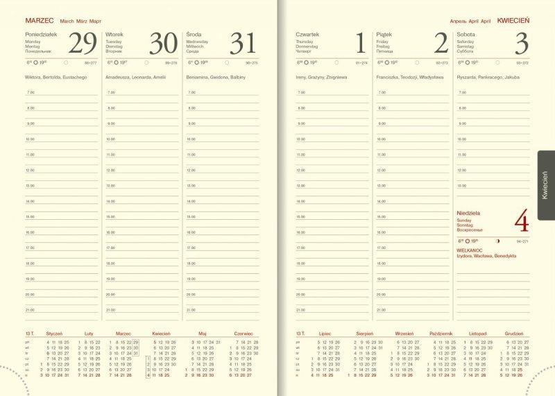 Kalendarz książkowy 2021 A5 tygodniowy papier chamois drukowane registry perforacja