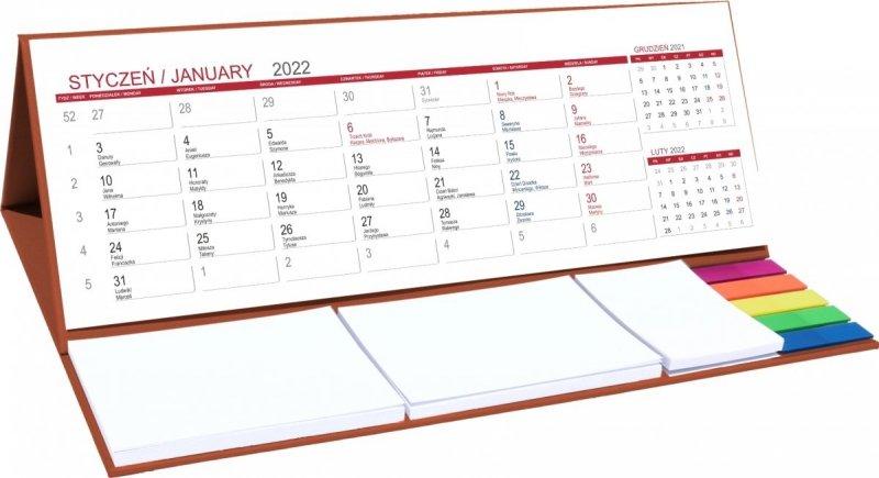 Kalendarz biurkowy z notesami i znacznikami MAXI 2022 brązowy