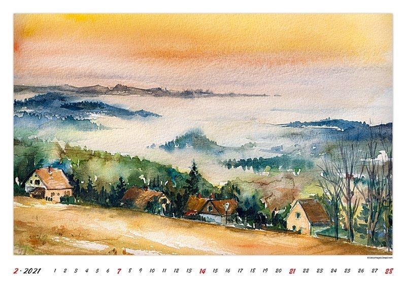 Kalendarz ścienny wieloplanszowy Watercolour Scenery 2021 - luty 2021