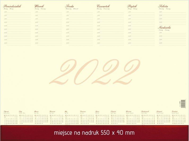 Biuwar duży A2 52-kartkowy BUSINESS Z LISTWĄ PCV 2022 z miejscem na nadruk