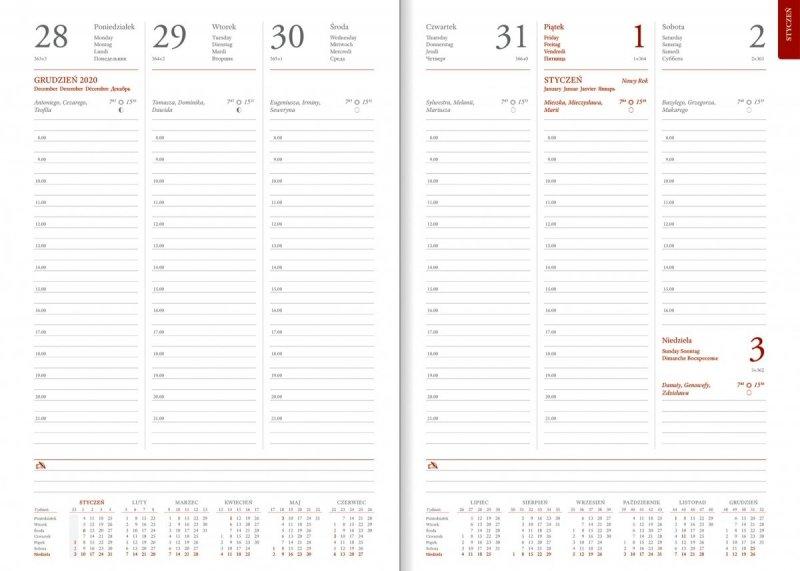 Blok kalendarza na rok 2021 na papierze białym z drukowanymi registrami