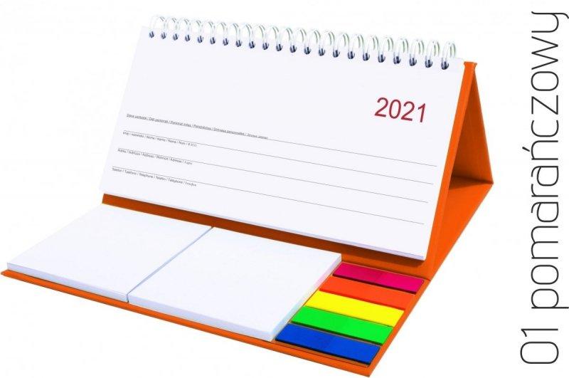 Kalendarz biurkowy z notesami i znacznikami MIDI TYGODNIOWY 2021 pomarańczowy