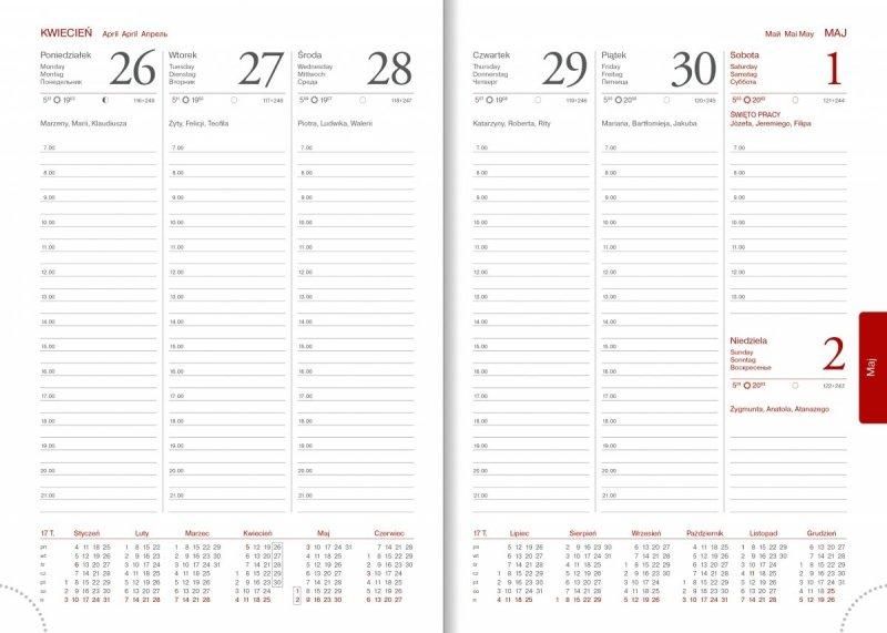 Kalendarz książkowy 2021 A5 tygodniowy papier biały perforacja - środek kalendarza