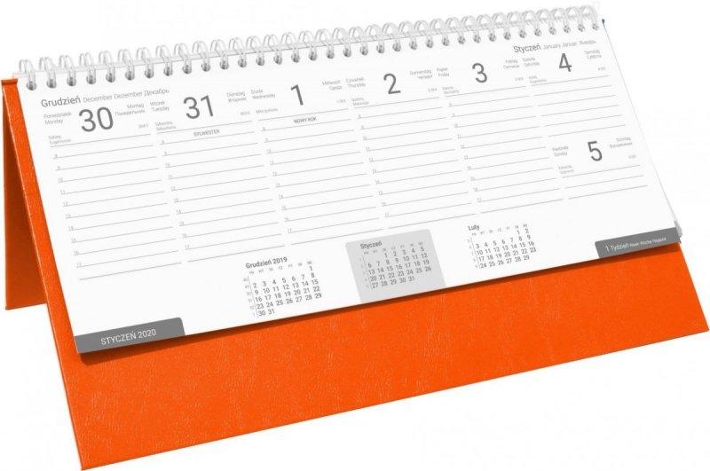 Kalendarz biurkowy stojąco-leżący BUSINESS LINE oprawa Agora kolor pomarańczowy