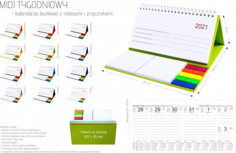 Kalendarz biurkowy z notesami i znacznikami MIDI TYGODNIOWY 2021 - wymiary i kolory