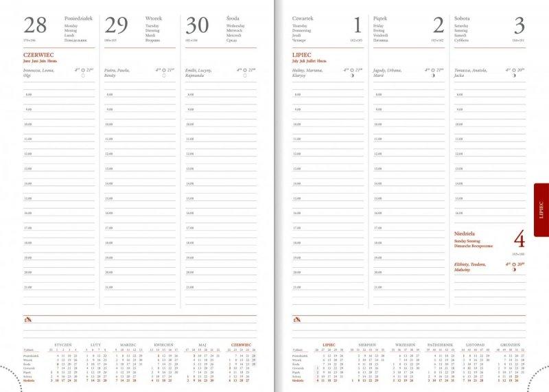 Kalendarz książkowy 2021 B5 tygodniowy papier biały drukowane registry perforacja