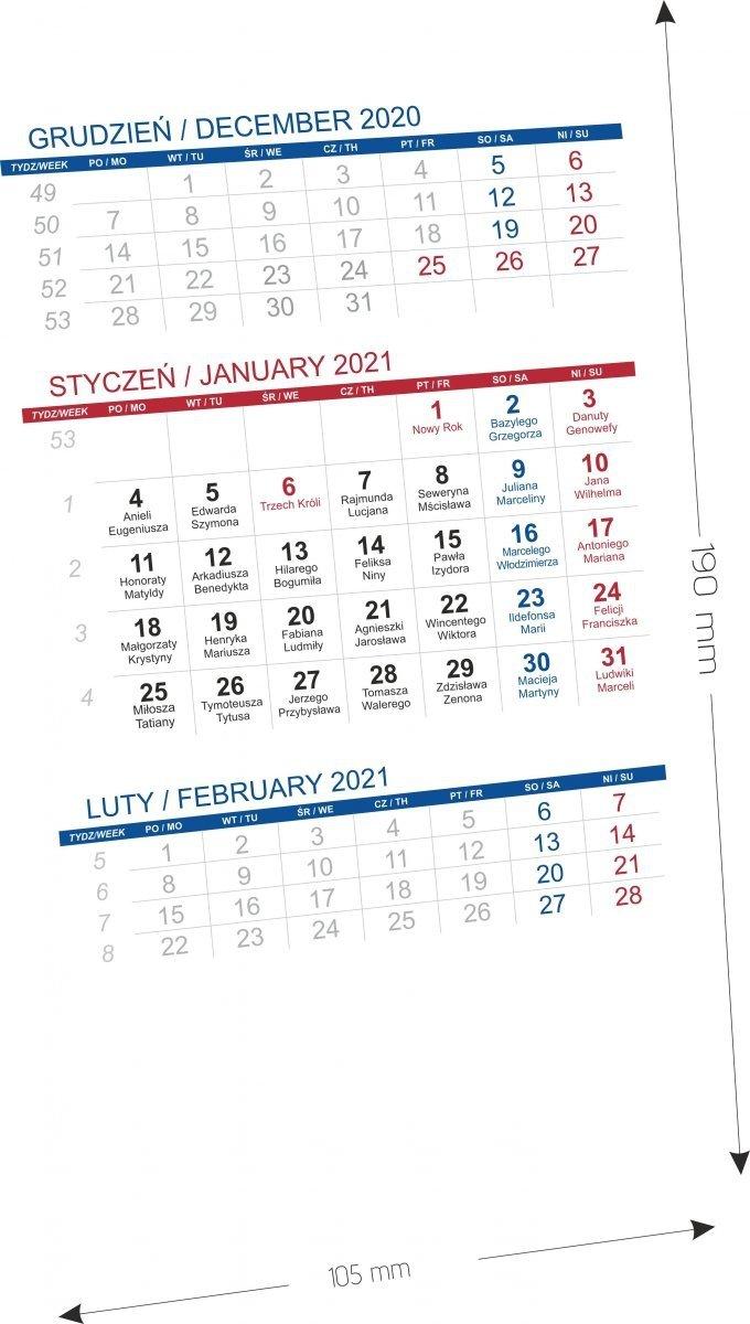 Kalendarz biurkowy stojący PIONOWY 3-MIESIĘCZNY - wymiary