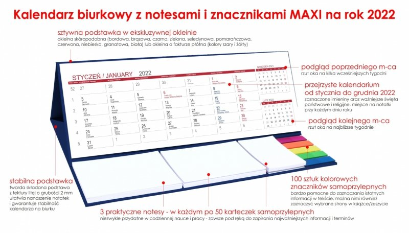 Kalendarz biurkowy z notesami i znacznikami MAXI 2022 granatowy