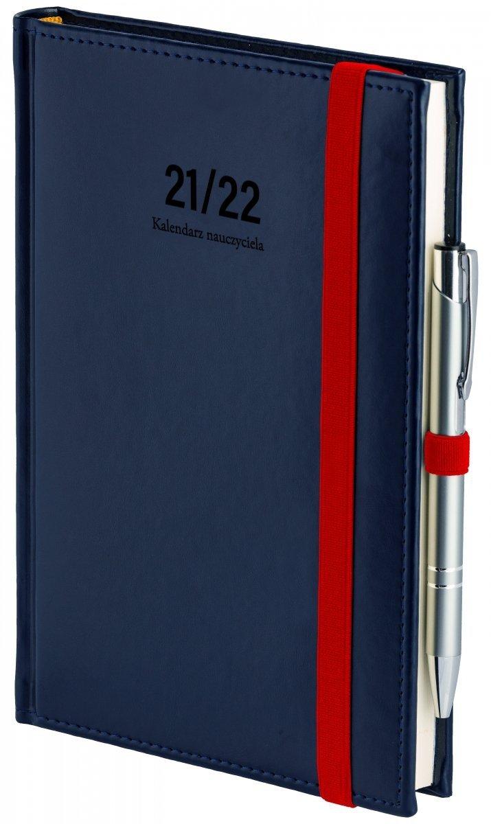 Oprawa kalendarza dla nauczyciela Nebraska z zamykaniem na gumkę i mocowaniem na długopis w kolorze granatowym