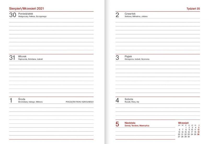 Kalendarz nauczyciela na rok szkolny 2021/2022 format B6 układ tygodniowy