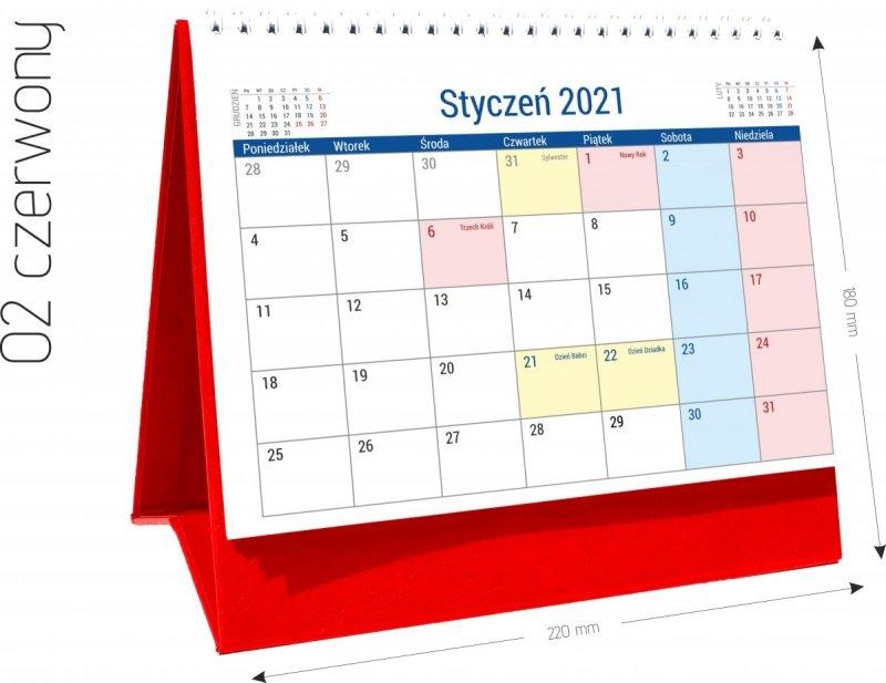 Kalendarz biurkowy stojący na podstawce PLANO 2021 czerwony 02