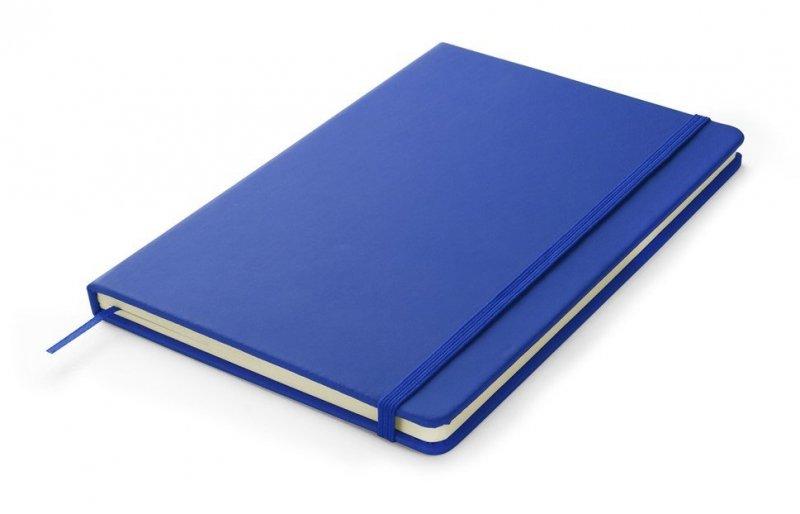 Notes A5 zamykany na gumkę - papier chamois w linie oprawa EKOSKÓRA VERONA niebieska (gumka niebieska)