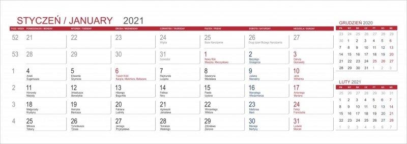 Kalendarium 3 miesięczne MAXI 2021 z imionami
