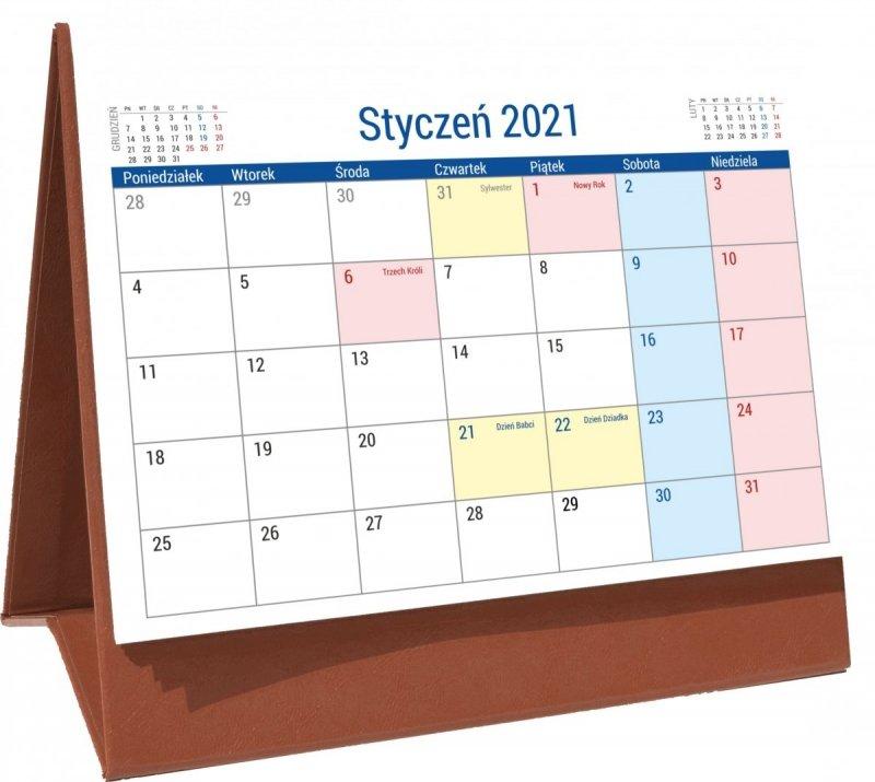 Kalendarz biurkowy stojący na podstawce PLANO 2021 brązowy
