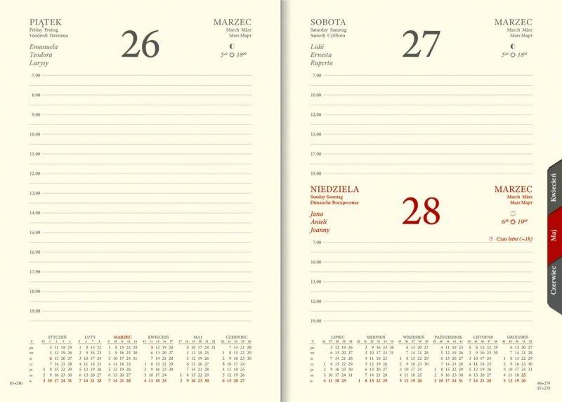 Kalendarium dzienne na rok 2021 papier chamois wycinane registry