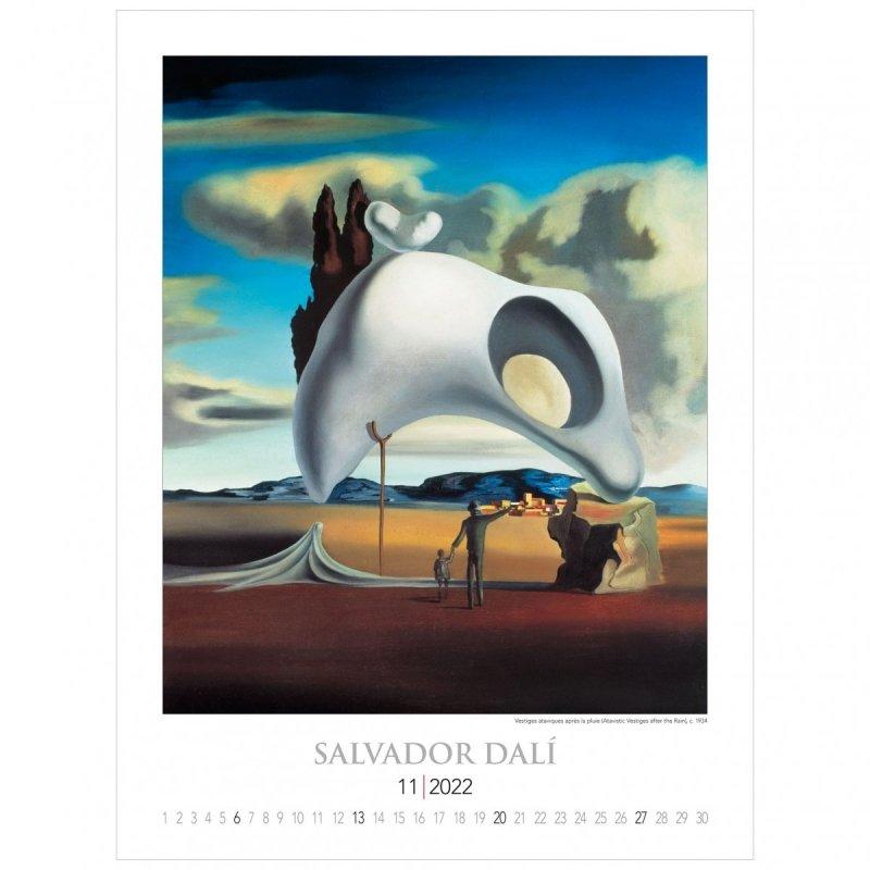 Kalendarza ścienny wieloplanszowy z reprodukcjami obrazów Salvadora Dali - listopad 2022