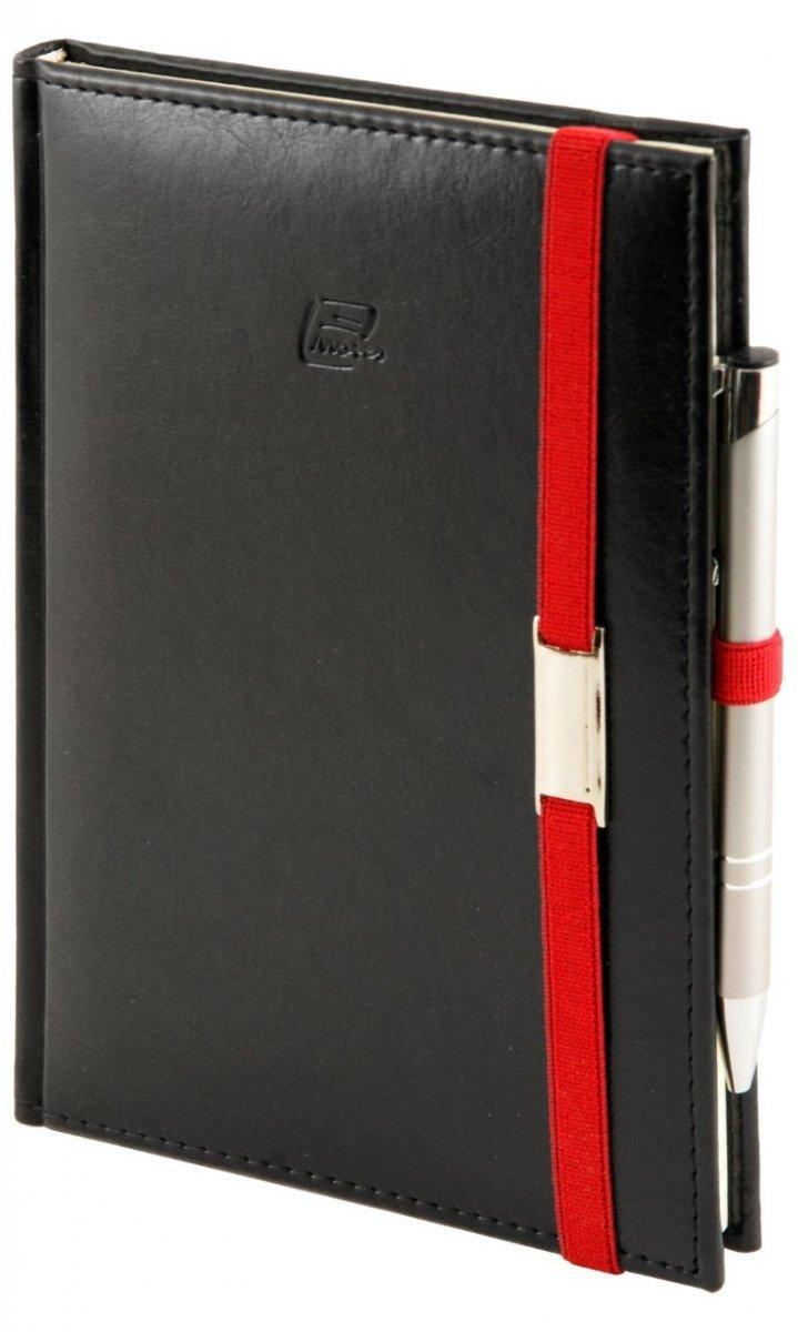 Notes A4 z długopisem zamykany na gumkę z blaszką - papier biały w kratkę *** - oprawa Nebraska czarna (gumka czerwona)