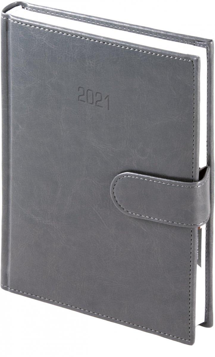 Kalendarz książkowy 2021 A4 dzienny oprawa MAGNESIAN - szary oprawa skóropodobna zamykana na magnes