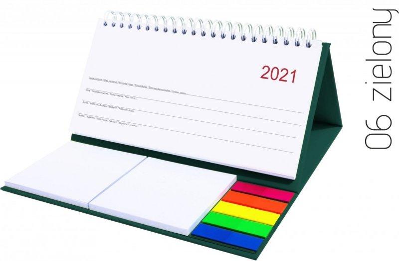 Kalendarz biurkowy z notesami i znacznikami MIDI TYGODNIOWY 2021 zielony