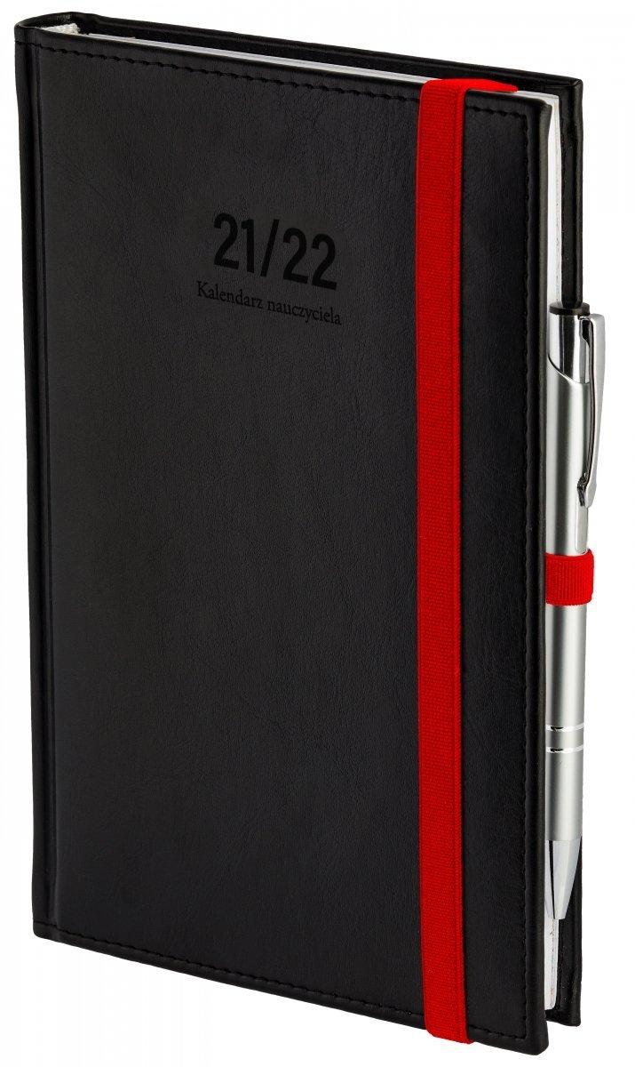 Oprawa kalendarza dla nauczyciela Nebraska z zamykaniem na gumkę i mocowaniem na długopis w kolorze czarnym