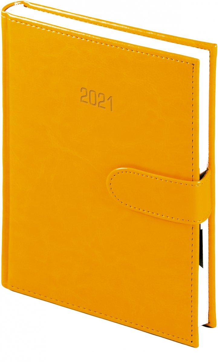 Kalendarz książkowy 2021 A4 dzienny oprawa MAGNESIAN - pomarańczowy oprawa skóropodobna zamykana na magnes