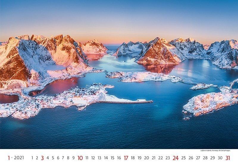 Kalendarz ścienny wieloplanszowy Landscapes 2021 - styczeń 2021