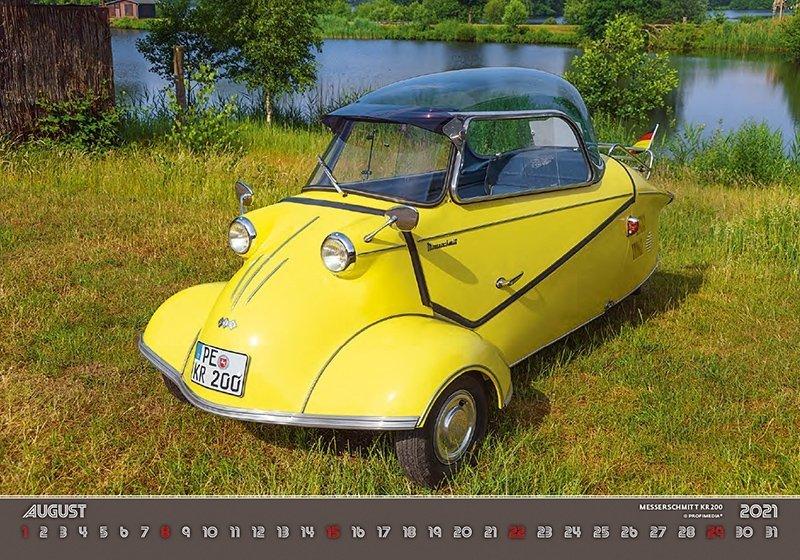 Kalendarz ścienny wieloplanszowy Retro Cars 2021 - sierpień 2021