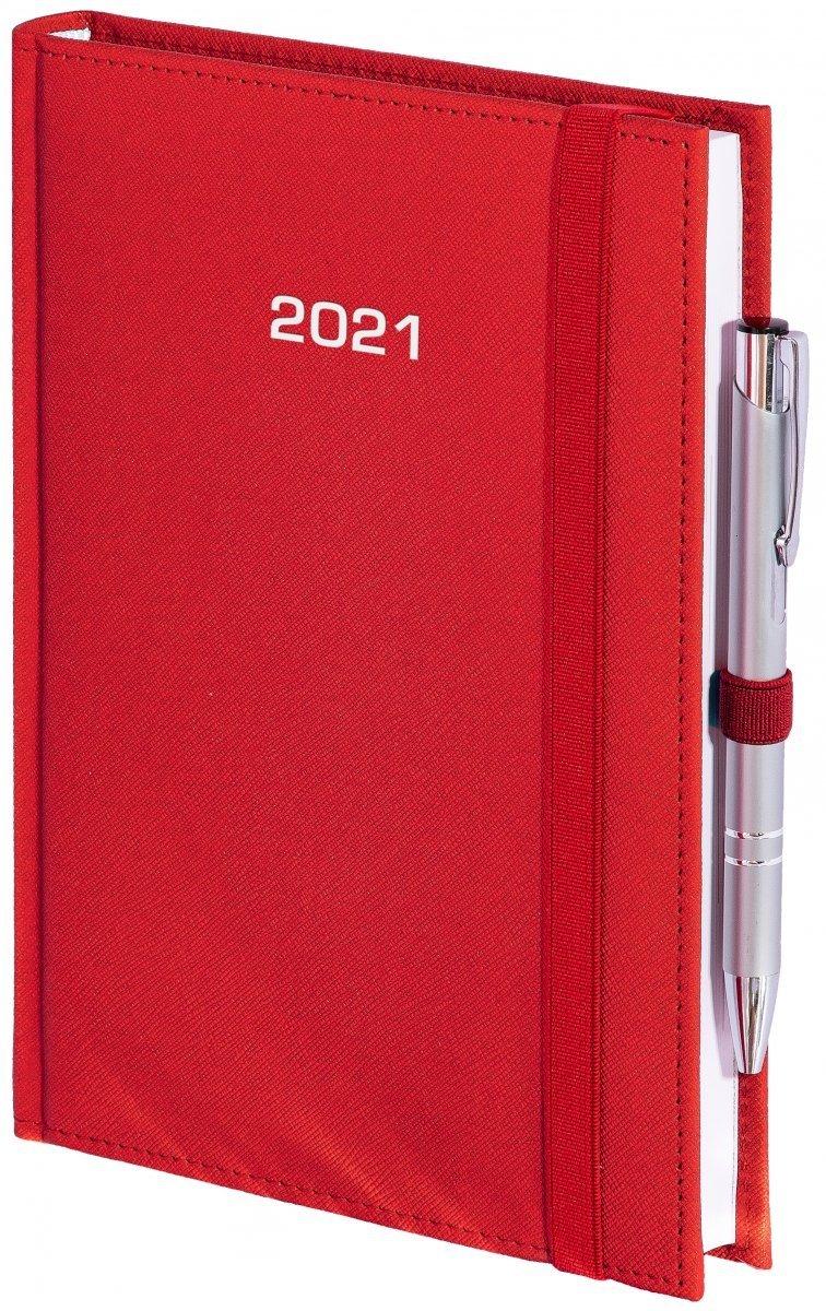 Kalendarz książkowy 2021 A5 dzienny oprawa ROSSA zamykana na gumkę czerwona
