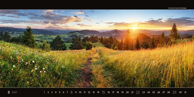 Kalendarz ścienny wieloplanszowy Panoramaphoto 2021 - exclusive edition - sierpień 2021