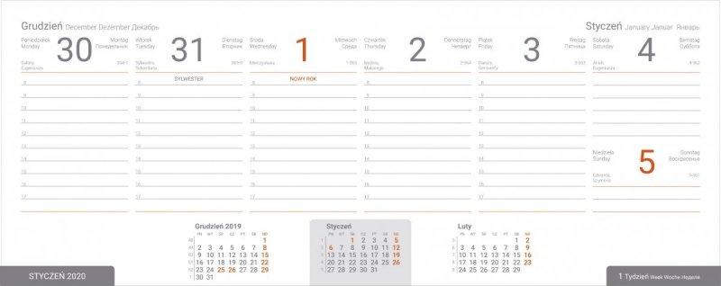 Kalendarz biurkowy EXCLUSIVE na rok szkolny 2019/2020 - przykładowa strona kalendarium