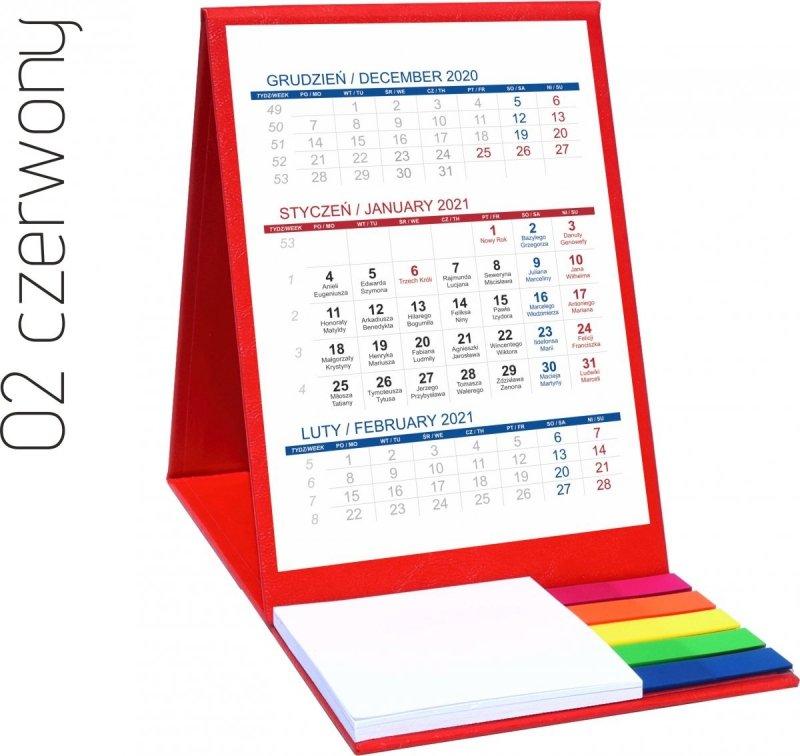 Kalendarz biurkowy z notesem i znacznikami TOP 3-miesięczny 2021 czerwony