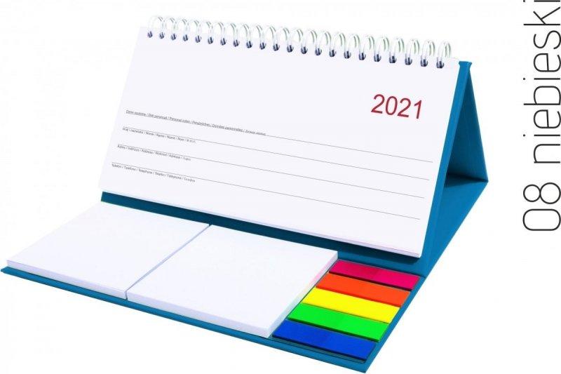 Kalendarz biurkowy z notesami i znacznikami MIDI TYGODNIOWY 2021 niebieski