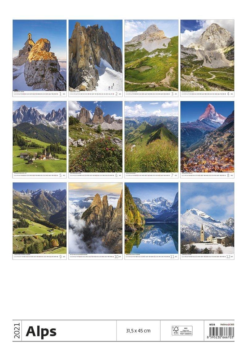 Kalendarz ścienny wieloplanszowy Alps 2021 - tylna okładka