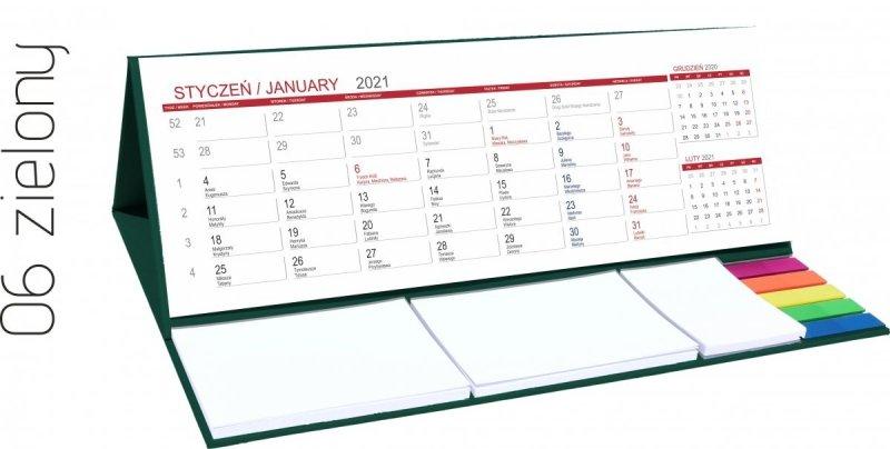 Kalendarz biurkowy z notesami i znacznikami MAXI 2021 zielony