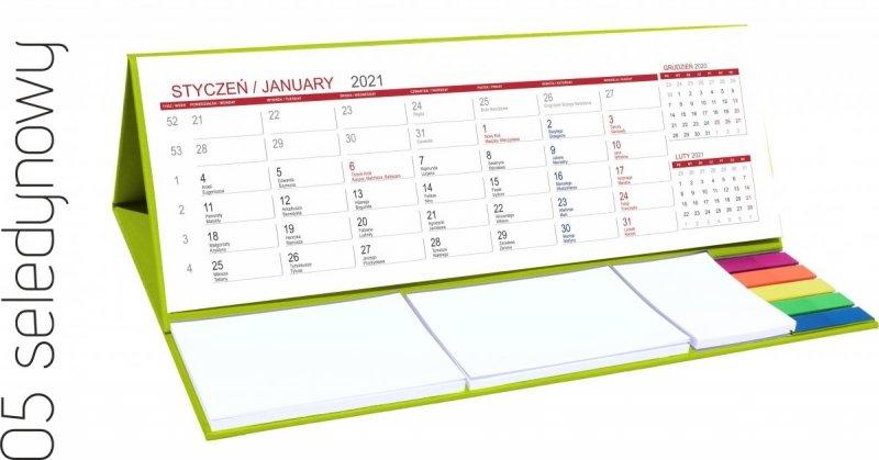 Kalendarz biurkowy z notesami i znacznikami MAXI 2021 seledynowy