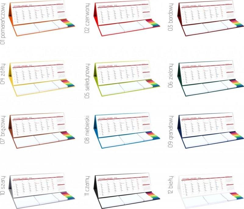 Kalendarz biurkowy z notesami i znacznikami na rok 2022 MAXI dostępne kolory podstawki
