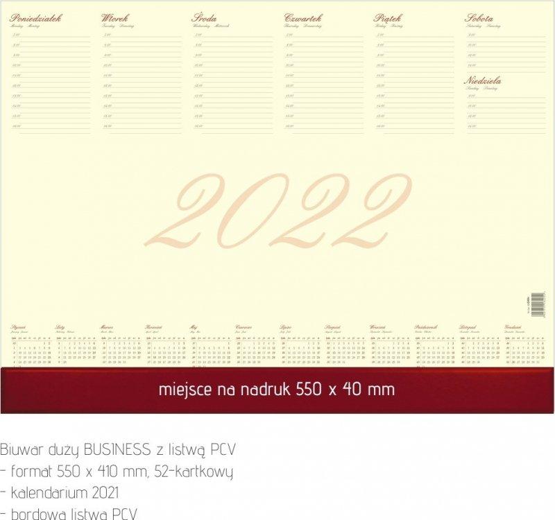 Biuwar duży A2 52-kartkowy BUSINESS Z LISTWĄ PCV 2022 z opisem
