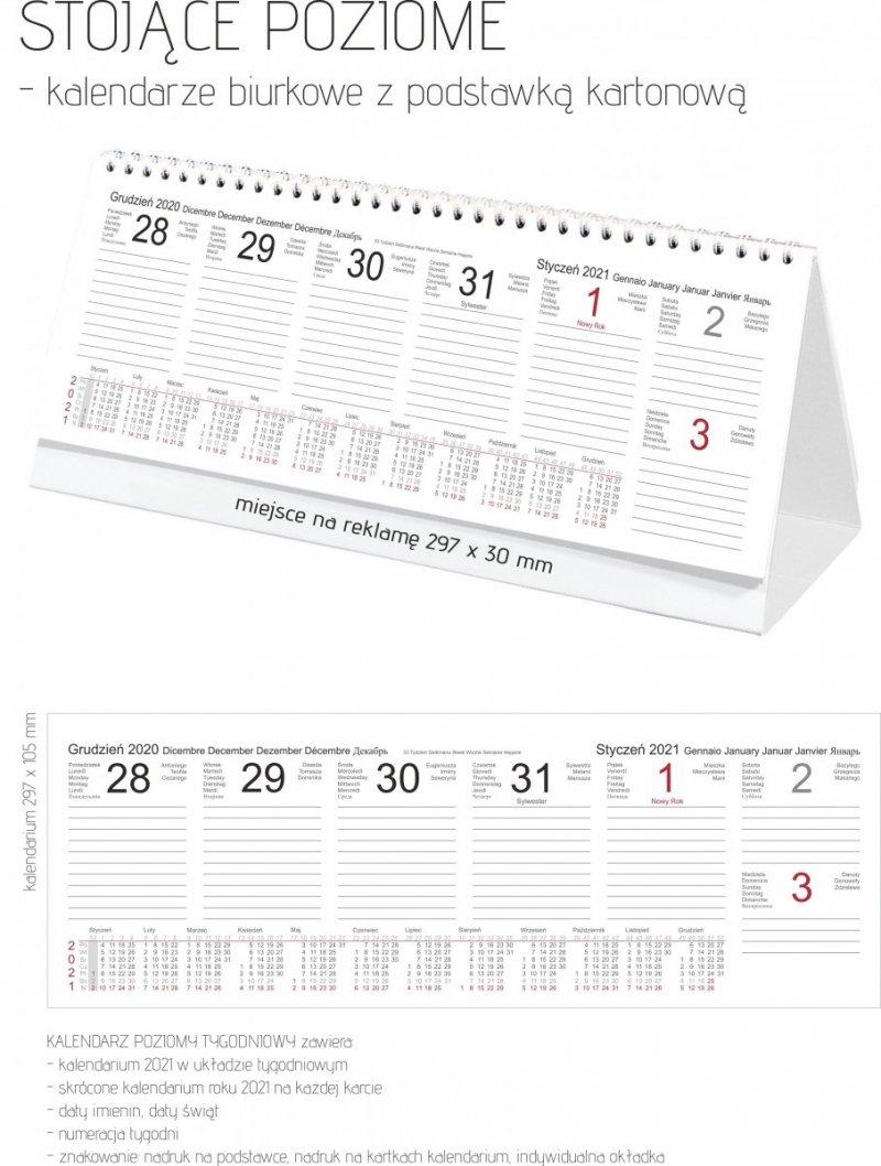 Kalendarz biurkowy stojący POZIOMY TYGODNIOWY 2021 - katalog