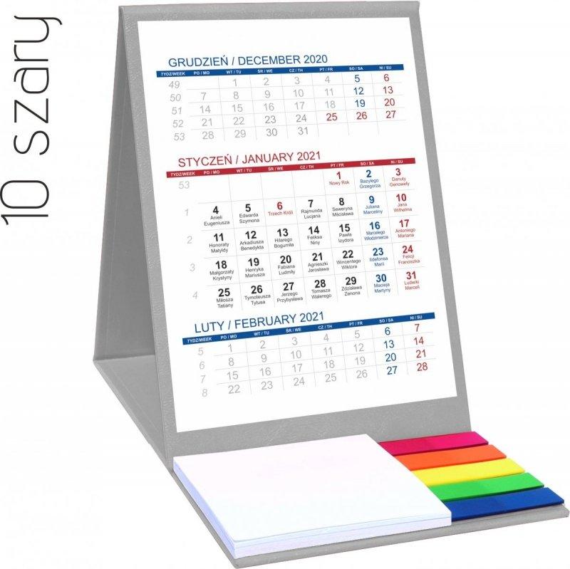Kalendarz biurkowy z notesem i znacznikami TOP 3-miesięczny 2021 szary