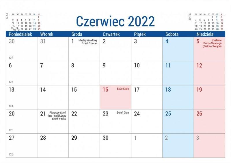 Kalendarz na biurko stojący PLANO na rok 2022 - czerwiec
