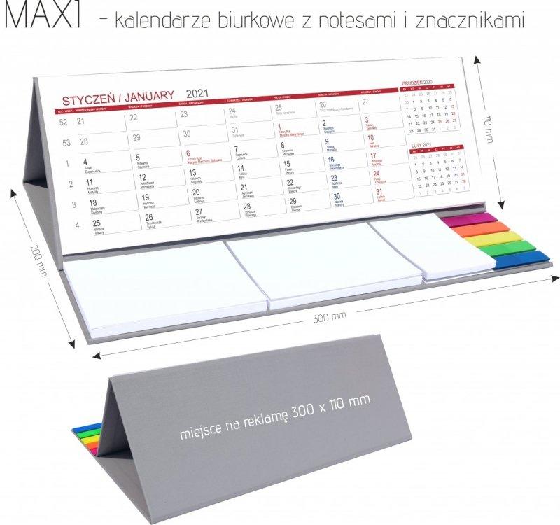 Wymiary do kalendarza biurkowego z notesami i znacznikami MAXI 2021