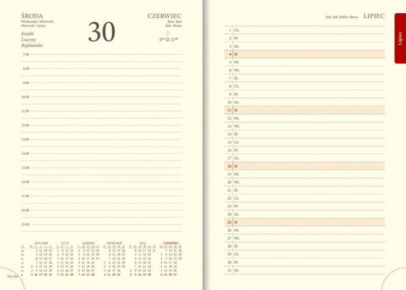 Kalendarz 2021 w układzie A5 dziennym - planer przed każdym miesiącem