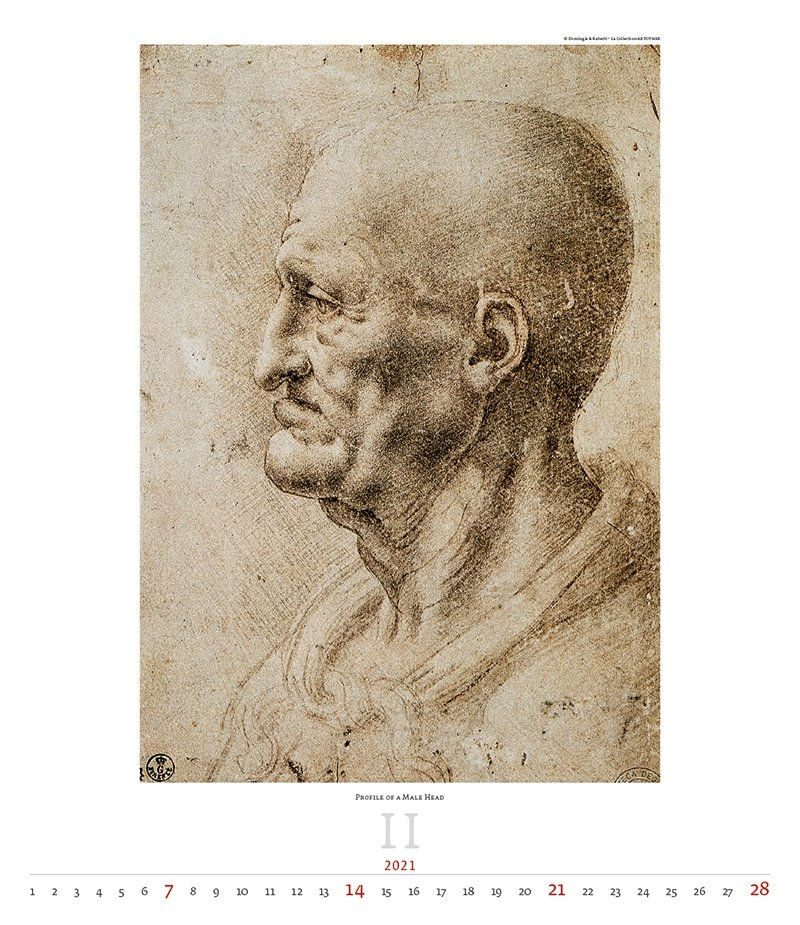 Kalendarz ścienny wieloplanszowy Leonardo da Vinci 2021 - exclusive edition  - luty 2021
