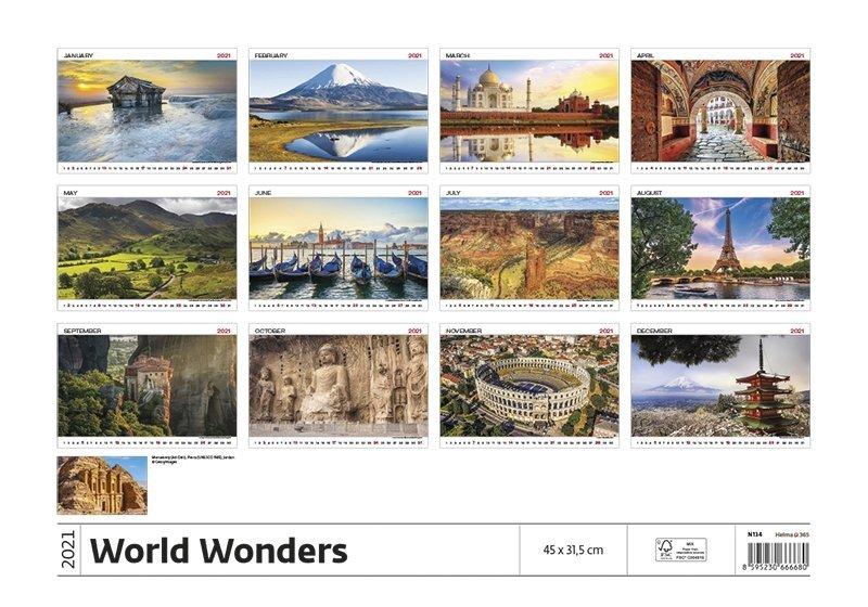 Kalendarz ścienny wieloplanszowy World Wonders 2021 - tylna okładka